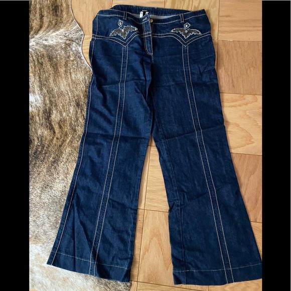 Escada Jeans sz 44 applications embroidery